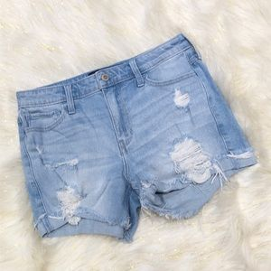 Hollister Light Blue Hi-Rise Midi Short 7 W28